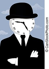 Clock face man