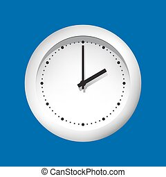 Clock face on a blue background.