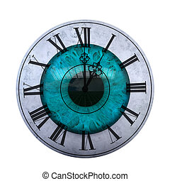 Clock face on eye
