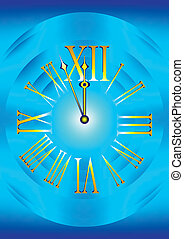clock face on the blue background