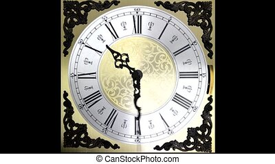Clock face running backward at speed ornate grandfather time...