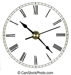 Clock Face - Roman numeral clock face isolated over white