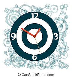 Clock Face Symbol with Cogs on Background