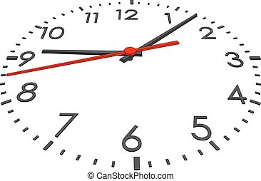 Clock face with numbers on isolated white background. Vector...