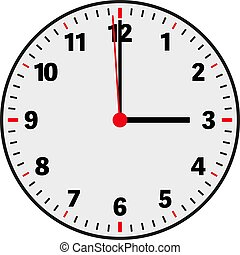 clock face vector illustration showing 3 o'clock on white...