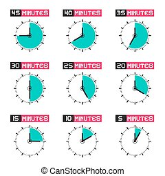 Clock Face with Different Time Vector Illustration Set Isolated on White Background