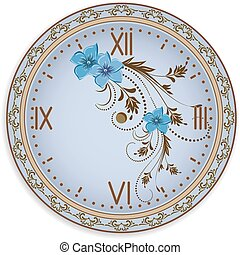 Clock face with flowers ornament - Clock face with vintage...