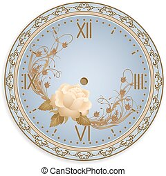 Clock face with ornament and roses