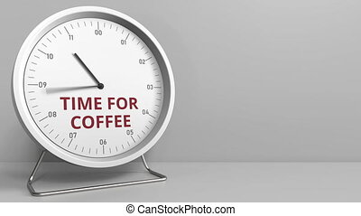 Clock face with revealing TIME FOR COFFEE text. Conceptual...
