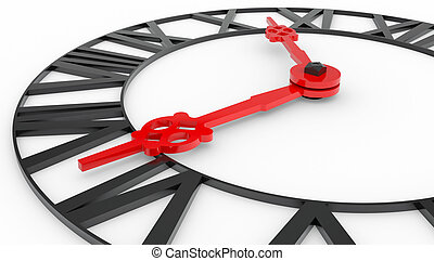 Clock face with Roman numerals. The concept of time