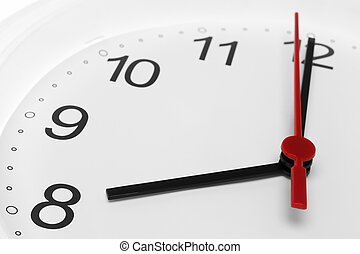 Clock face with time running to eight on white background
