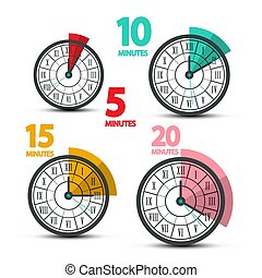 Clock Faces Icons with Five, Ten, Fifteen and Twenty Minutes Symbols. Vector Time Design with Roman Numbers.