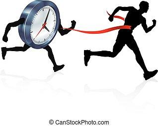 Clock Finish Line Race Man Concept