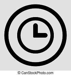 Clock flat black color rounded vector icon