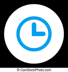Clock flat blue and white colors round button