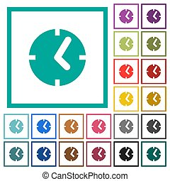 Clock flat color icons with quadrant frames on white...