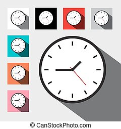 Clock. Flat Design Vector Clock Face Set.