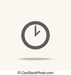 Clock Flat Design vector icon with shadow
