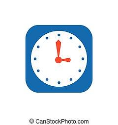clock Flat icon and Logo vector blue, orange