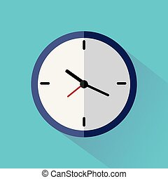 Clock flat icon on blue background with long shadow