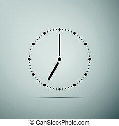 Clock flat icon on grey background. Vector Illustration