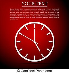 Clock flat icon on red background. Vector Illustration