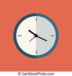 Clock flat icon on red background with long shadow.