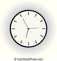 Clock flat icon on white background with long shadow.