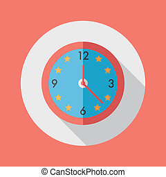 Clock flat icon with long shadow, eps10