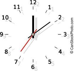 Clock flat illustration analog watch with shadow