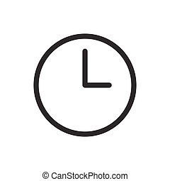 Clock Flat Simple Design Icon Timer Button Illustration Isolated On White Background