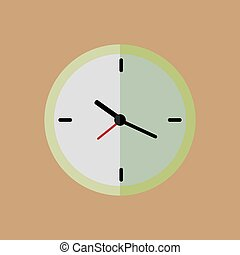 Clock flat vector icon. Vector illustration