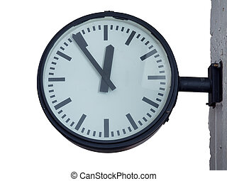 Clock for train or bus station in isolated background with ...