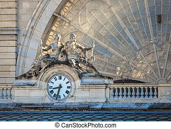 Clock, Gare de l'Est, Paris, France - Clock on the facade of...