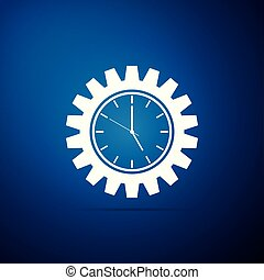 Clock gear icon isolated on blue background. Flat design. Vector Illustration