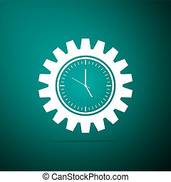 Clock gear icon isolated on green background. Time Management symbol. Flat design. Vector Illustration