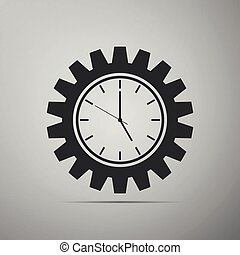 Clock gear icon isolated on grey background. Flat design. Vector Illustration