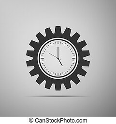 Clock gear icon isolated on grey background. Time Management symbol. Flat design. Vector Illustration