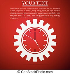 Clock gear icon isolated on red background. Flat design. Vector Illustration