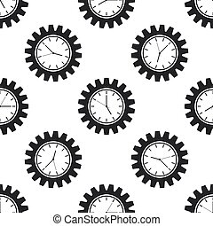 Clock gear icon seamless pattern on white background. Flat design. Vector Illustration