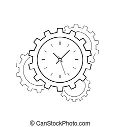 Clock gear line icon