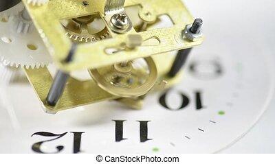 clock gear mechanism closeup above the dial