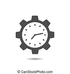 Clock Gear vector icon