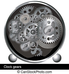 clock gears - Illustration of a silver gears inside of an...