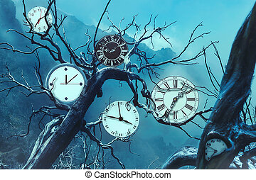 Clock gears - Many clocks on old trees