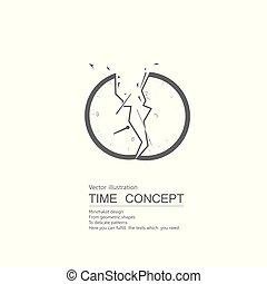 clock., getrokken, vector, witte , achtergrond., vrijstaand