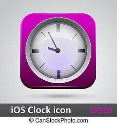 Clock glossy icon vector illustration