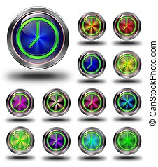 Clock glossy icons, crazy colors #01