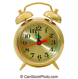 clock gold alarm isolated (clipping path)