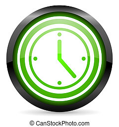 clock green glossy icon on white background